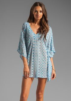 EBERJEY Goa Farrah Cover Up in Turq at Revolve Clothing