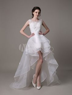 Asymmetrical Organza Wedding Dress High Low A-Line With Lace Beading Flower - Milanoo.com