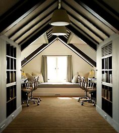 attic bonus room home office with storage and a lounging area