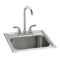 Elkay Neptune All-in-One Drop-in Stainless Steel 15 in. Single Basin Bar Sink at The Home Depot - Mobile Bar Sink Faucet, Steel Kitchen Sink, Apron Sink Kitchen, Double Bowl Kitchen Sink, Undermount Sink, Bar Sinks, Bowl Sink, Stainless Steel Faucets, Stainless Steel Kitchen