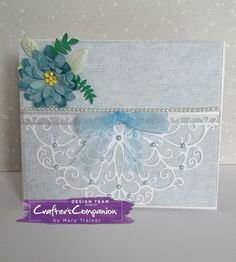 TENT CARD made using Crafter's Companion Die'sire Decorative Create-a-Card die - 'ELIZABETH' Designed by Mary Trainer #crafterscompanion