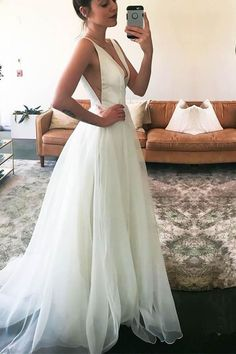 V-neck Straps Sweep-Train Sleeveless White A-line Wedding Dress WD157