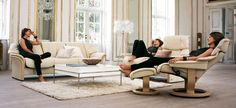 Stressless Granada Lowback Sofa; Stressless Vegas Recliner