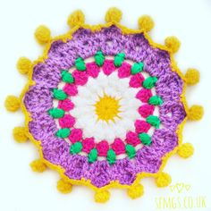 Set Free My Gypsy Soul | a Crochet Craft blog : Daisy Pom Pom Mandala | Free Crochet Pattern