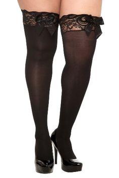 6261334b47b0c Fashion Bug Plus Size Black Opaque Lace Trim Bow Thigh Highs www.fashionbug .us