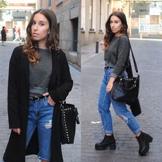 New Look Duster Coat, Zara Cropped Sweatshirt, Pull & Bear High Waisted Jeans, H&M Chunky Heel Boots