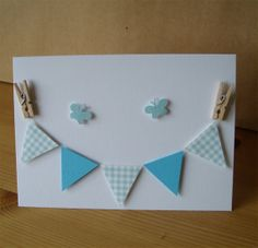 Beautiful Blue Bunting Card by AuntyJoanCrafts on Etsy, £2.50