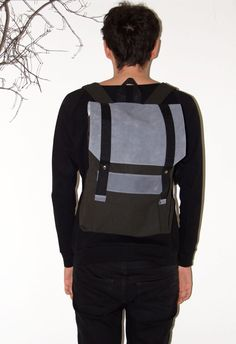 Gray blue leather canvas backpack от robobambi на Etsy