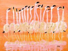 "Saatchi Art Artist Lawrence Golla; Painting, ""Dancing Flamingos"" #art"