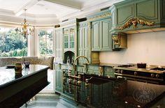 Formal green kitchen