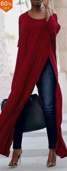 S-5XL Casual Women Side Split Long Maxi Shirts. Brief,Casual, Half Sleeve, O-Neck. Color:Black,Blue,Purple,Red. Size:S,M,L,XL,XXL,XXXL,XXXXL,5XL. Suitable in Fall,Spring,Summer. Buy now! #women #blouse #fashion #DreamDestinations