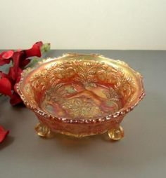 Vintage Fenton Marigold Carnival Glass Panther Bowl // 3 Pattern Bowl // Heart and Vine // Butterfly and Berry  by successionary for $63.99