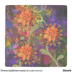 Flowers LimEstone coaster. A limestone coaster with the image of flowers. Designed for you by Lady Creativity