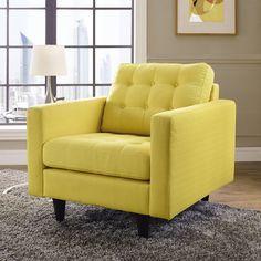 EMPRESS UPHOLSTERED ARMCHAIR Tufted Buttons Plush Cushions & Armrests Wood Legs #Modway #Modern