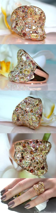 High-end Rosegold Ring set with Natural Fancy Diamonds, 4.029 ct. -