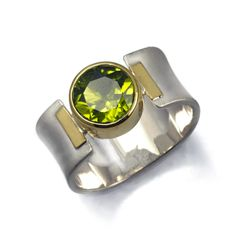 Faceted Peridot set in 22 Karat Gold on Sterling Band with 22 Karat Gold Design Elements — Jody Ochs Design
