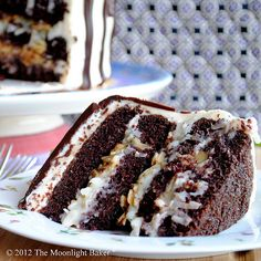 4-layer chocolate cake with coconut and almond filling