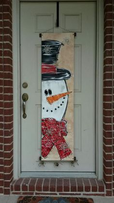 Snowman Canvas Door Decoration by StaceyDefineArtwork on Etsy , Mr. Snowman Canvas Door Decoration by StaceyDefineArtwork on Etsy. Christmas Wooden Signs, Christmas Wood Crafts, Diy Christmas Decorations Easy, Christmas Wall Art, Christmas Paintings, Snowman Crafts, Christmas Door, Christmas Projects, Holiday Crafts