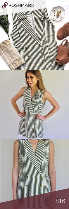 "Olive & White Striped Double Breasted Top You've earned your stripes. This stylish top features a double-breasted design, olive green and white stripes, belt loops and six olive/gold buttons. Perfect with cuffed skinnies, gold earrings and heels. 50% Acetate, 50% Rayon. Does not have a size tag, but can fit a Medium and/or Large.   Length: 27.5"" Bust: 38.5"" Waist: 42"" Shoulder to Shoulder: 18"" Tops Blouses"