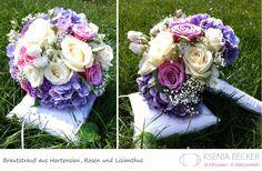 brautstrauss rund hortensien nelken schleierkraut rosen lisianthus flieder rosa creme weiss