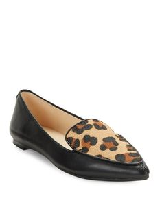 Karl Lagerfeld Paris Destine Calf Hair-Accented Leather Loafers ($99)