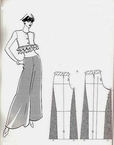 Oooo, I want pants like this! - - - Diy looks so easy! Sewing Patterns Free, Free Sewing, Clothing Patterns, Dress Patterns, Sewing Pants, Sewing Clothes, Fashion Sewing, Diy Fashion, Modelos Fashion