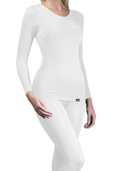 Ladies Thermal Long Sleeve Vest White Large/X-Large Shot