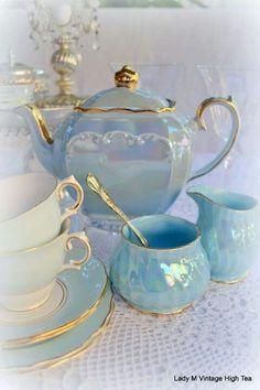 Blue pearl lustre tea service. For princess days.