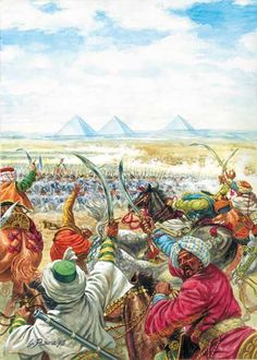 The Battle of the Pyramids, also known as the Battle of Embabeh, was a major engagement fought on July 21, 1798 during the French invasion of Egypt. Art by Giusseppe Rava