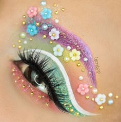 overdose eye make up style inspiration. Colourful, eyebrow, flowers, rainbow. Please choose cruelty free vegan products, brands and parent companies that don't test on animals or use animal ingredients.