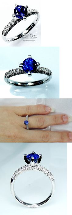Other Engagement Rings 164308: Certified 14Kt White Gold 1.30Tcw Blue Round Cut Natural Sapphire And Diamond Ring BUY IT NOW ONLY: $2935.0