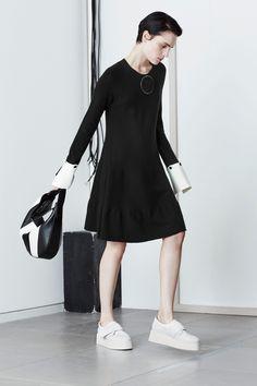 Sportmax Fall 2016 Dress: wool knit removable sleeve black