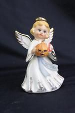 "5"" October Birthday Angel Figurine With Pumpkin Napco? Lefton? White Gold"