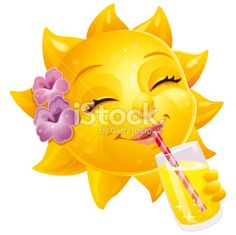sunshine face   Cute Female Cartoon Summer Sun With Human Face And Drink Royalty Free ...