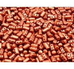 Czech Glass Two-Hole Seed Beads RULLA 3x5mm Crystal Bronze Fire Red