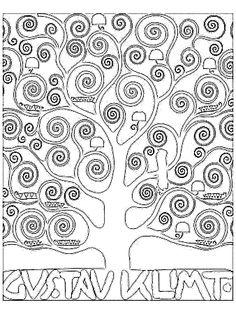 Kuvahaun tulos haulle klimt coloring pages Gustav Klimt, Art Klimt, Artists For Kids, Art For Kids, Documents D'art, Art Handouts, Art Worksheets, Ecole Art, Art Club