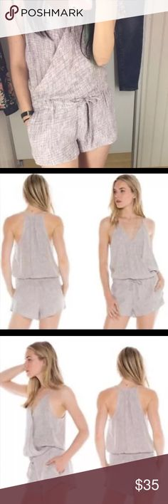 Cloth and Stone Romper NWT L Linen Purple Cloth and Stone Romper NWT L Linen Purple Plaid Jumpsuit Shorts Wrap Style cloth & stone Other
