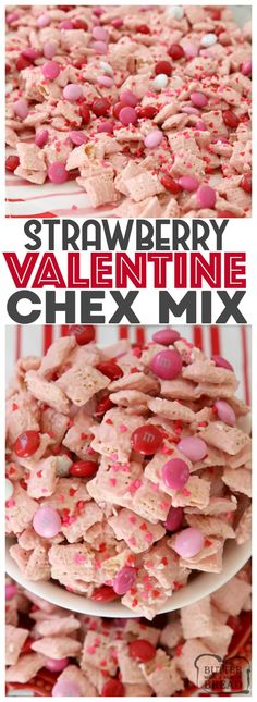 Strawberry Valentine Chex Mix is easy to make, fun & perfectly festive for #Valentines Day! #Strawberry white #chocolate coating on Chex cereal with added chocolate #candy is the perfect sweet treat!
