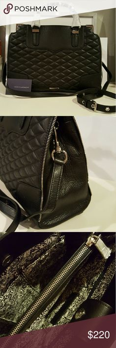 "New Rebecca Minkoff black quilted purse handbag New with tags W13"" x H 10"" with expandable shoulder strap Rebecca Minkoff Bags Shoulder Bags"
