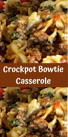 Crockpot Bowtie Casserole Swap out the casserole dish and throw everything in the slow cooker to find your freedom once again! Loaded with juicy browned ground beef and hearty bowtie pasta, this dish will fill the Crockpot Dishes, Crock Pot Slow Cooker, Crock Pot Cooking, Slow Cooker Recipes, Cooking Recipes, Healthy Recipes, Hamburger Crockpot Recipes, Cooking Rice, Crockpot Meals