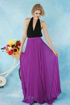 Paired with a silky halter blouse with a dramatic, deep-v neckline, a lightweight maxi skirt looks positively glam. It's also an easy option for a black-tie event when you've exhausted your collection of cocktail dresses.