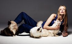 denim & cats -shannon ann philips models with cats for glamour italia on fashiongonerogue.com