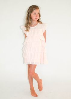 """Designer girl clothing - Alex & Ant Ice Vovo Frou Frou Dress - $47.95 - The name sums it up beautifully!  Gorgeous """"frou frou"""" designer girls dress in pink from the Ice Vovo range by Alex & Ant!  This beautiful dress features multi tier panels and sweet cap sleeves - perfect for everything from an outdoor summer tea party to a special occasion dress. Designer girl clothing - Alex & Ant"""