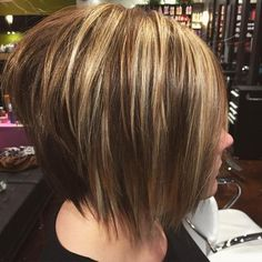 11 short stacked choppy bob with highlights