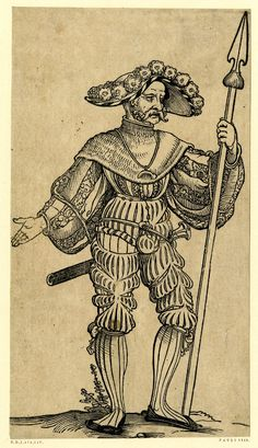 Full: Front A landsknecht; FL figure, turned slightle to r, holding a spear in his l hand, short sword hanging at his back, wearing wide-brimmed hat with feathers. From a series of fifty woodcuts. Woodcut © The Trustees of the British Museum Renaissance, Armadura Medieval, Landsknecht, Arte Popular, Art Graphique, Old Master, Mask Design, British Museum, 16th Century
