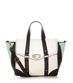 White Colourblock Winged Satchel
