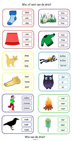 Wie of wat van de drie? Kies het correcte woord. 2nd Grade Reading Worksheets, Preschool Worksheets, Kindergarten Lessons, School Lessons, Learn Dutch, Phonics Song, Dutch Language, Teachers Aide, Learning Numbers