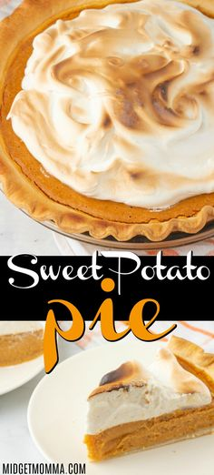 This Sweet Potato Pie Recipe with Marshmallow Meringue is the BEST recipe ever! Sweet Potato pie is the perfect Thanksgiving Dessert pie! This Homema. Sweet Potato Pie Filling, Homemade Sweet Potato Pie, Sweet Potato Dessert, Homemade Pie, Sweet Potato Casserole, Sweet Potato Recipes, Bean Casserole, Dump Cake Recipes, Pie Recipes