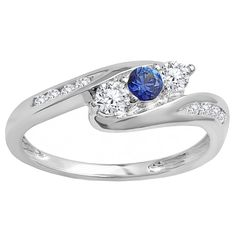 18k White Gold 1/2 ct Round White Diamond & Blue Sapphire Engagement 3 Stone Bridal Ring (H-I & Blue, I1-I2 & Highly Included) (Size