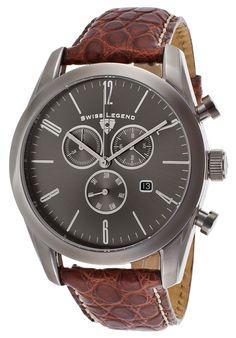 Swiss Legend 22044C-GM-014-ABR02C Watches,Peninsula Chronograph Brown Genuine Leather Gunmetal Dial, Dress Swiss Legend Quartz Watches